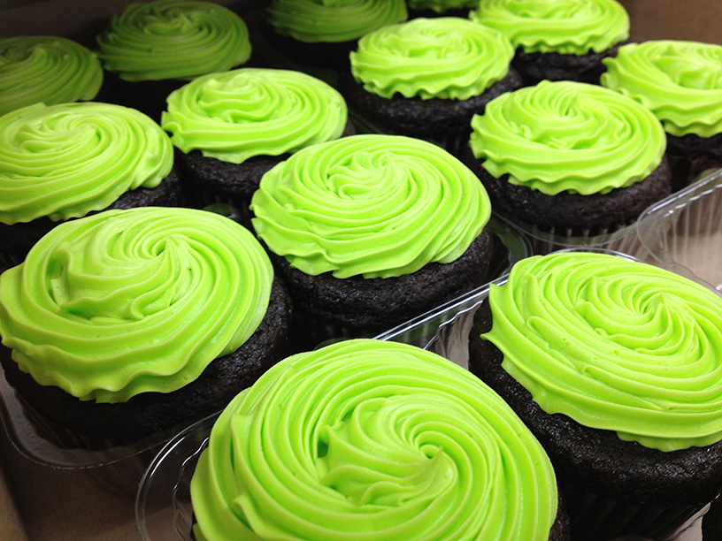 bright green cupcakes