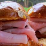 hot ham and rolls for a picnic